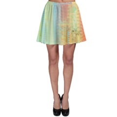 Unique abstract in green, blue, orange, gold Skater Skirt