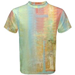 Unique abstract in green, blue, orange, gold Men s Cotton Tee