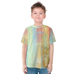 Unique abstract in green, blue, orange, gold Kids  Cotton Tee