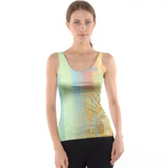 Unique Abstract In Green, Blue, Orange, Gold Tank Top