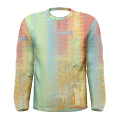 Unique abstract in green, blue, orange, gold Men s Long Sleeve Tee