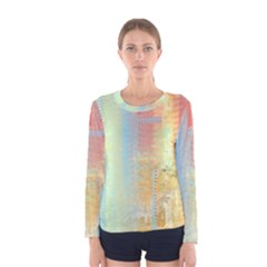 Unique Abstract In Green, Blue, Orange, Gold Women s Long Sleeve Tee