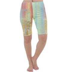 Unique Abstract In Green, Blue, Orange, Gold Cropped Leggings