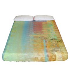 Unique Abstract In Green, Blue, Orange, Gold Fitted Sheet (queen Size)