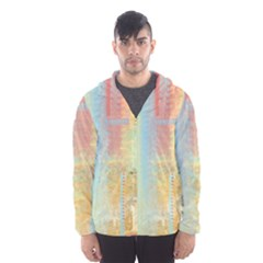 Unique Abstract In Green, Blue, Orange, Gold Hooded Wind Breaker (men)