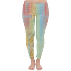 Unique abstract in green, blue, orange, gold Classic Winter Leggings