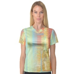 Unique abstract in green, blue, orange, gold Women s V-Neck Sport Mesh Tee