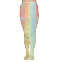 Unique abstract in green, blue, orange, gold Women s Tights