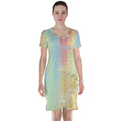 Unique abstract in green, blue, orange, gold Short Sleeve Nightdress