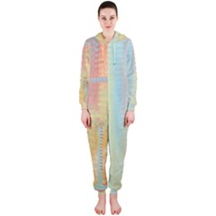 Unique abstract in green, blue, orange, gold Hooded Jumpsuit (Ladies)