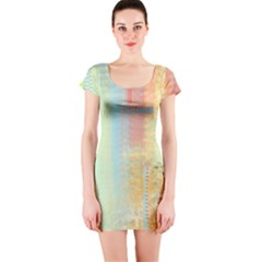 Unique abstract in green, blue, orange, gold Short Sleeve Bodycon Dress