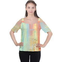 Unique Abstract In Green, Blue, Orange, Gold Women s Cutout Shoulder Tee