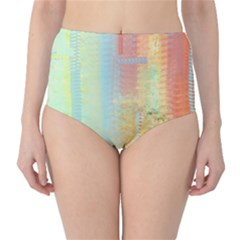Unique abstract in green, blue, orange, gold High-Waist Bikini Bottoms