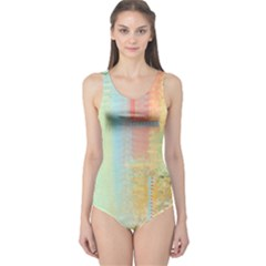 Unique abstract in green, blue, orange, gold One Piece Swimsuit