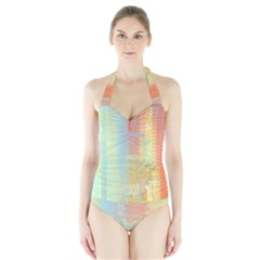 Unique Abstract In Green, Blue, Orange, Gold Halter Swimsuit