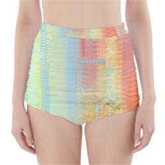 Unique abstract in green, blue, orange, gold High-Waisted Bikini Bottoms