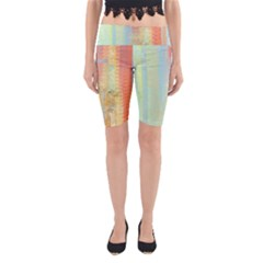 Unique abstract in green, blue, orange, gold Yoga Cropped Leggings