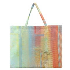 Unique abstract in green, blue, orange, gold Zipper Large Tote Bag