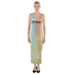 Unique abstract in green, blue, orange, gold Fitted Maxi Dress