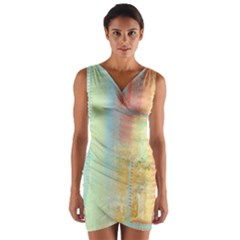 Unique Abstract In Green, Blue, Orange, Gold Wrap Front Bodycon Dress