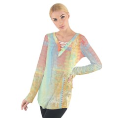 Unique abstract in green, blue, orange, gold Women s Tie Up Tee