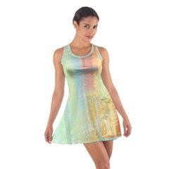 Unique abstract in green, blue, orange, gold Cotton Racerback Dress