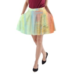 Unique abstract in green, blue, orange, gold A-Line Pocket Skirt