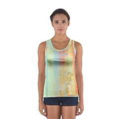 Unique abstract in green, blue, orange, gold Women s Sport Tank Top