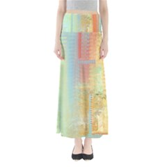 Unique abstract in green, blue, orange, gold Maxi Skirts