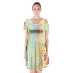 Unique Abstract In Green, Blue, Orange, Gold Short Sleeve V Neck Flare Dress