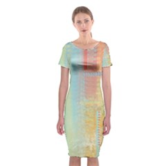 Unique abstract in green, blue, orange, gold Classic Short Sleeve Midi Dress