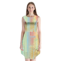 Unique abstract in green, blue, orange, gold Sleeveless Chiffon Dress
