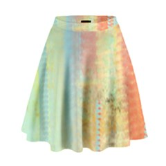 Unique abstract in green, blue, orange, gold High Waist Skirt