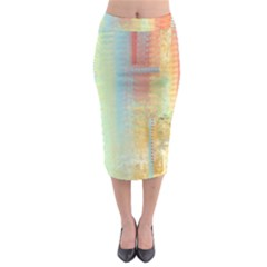 Unique Abstract In Green, Blue, Orange, Gold Midi Pencil Skirt