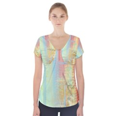 Unique Abstract In Green, Blue, Orange, Gold Short Sleeve Front Detail Top