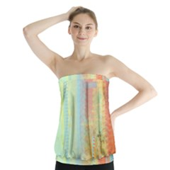 Unique abstract in green, blue, orange, gold Strapless Top