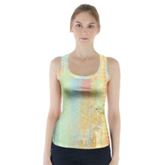 Unique abstract in green, blue, orange, gold Racer Back Sports Top
