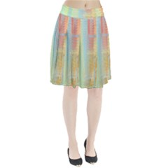 Unique Abstract In Green, Blue, Orange, Gold Pleated Skirt