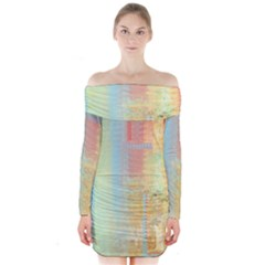 Unique abstract in green, blue, orange, gold Long Sleeve Off Shoulder Dress