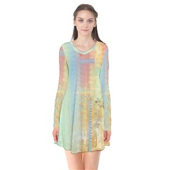 Unique Abstract In Green, Blue, Orange, Gold Flare Dress