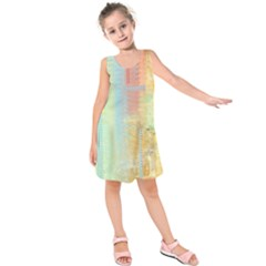 Unique abstract in green, blue, orange, gold Kids  Sleeveless Dress