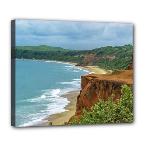 Aerial Seascape Scene Pipa Brazil Deluxe Canvas 24  x 20