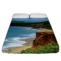 Aerial Seascape Scene Pipa Brazil Fitted Sheet (California King Size)