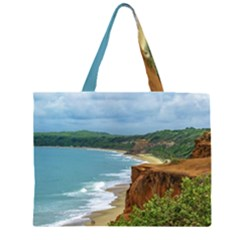 Aerial Seascape Scene Pipa Brazil Zipper Large Tote Bag