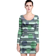 Green simple pattern Long Sleeve Bodycon Dress