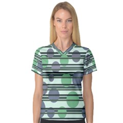 Green simple pattern Women s V-Neck Sport Mesh Tee
