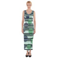 Green simple pattern Fitted Maxi Dress
