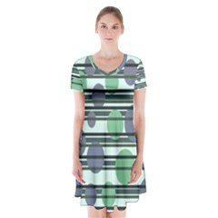 Green simple pattern Short Sleeve V-neck Flare Dress