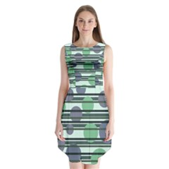 Green simple pattern Sleeveless Chiffon Dress
