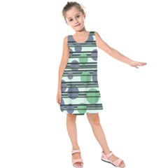 Green simple pattern Kids  Sleeveless Dress